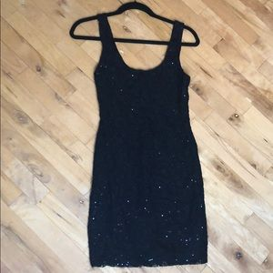 Black Sequin Mini Dress LBD